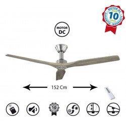 Softy de KlassFan un ventilateur de plafond DC 152 Cm design, pales bois chêne claire ultra silencieux.