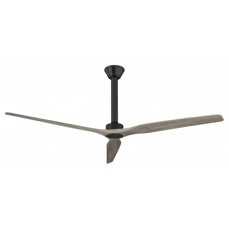 Softy von KlassFan. DC Hyper Silence Deckenventilator ohne Licht mit Fernbedienung, 178 cm, 60 cm Deckenstange, Massivholz Flüge